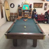 Brunswick 8 Foot Slate Top Pool Table, and Pool Light