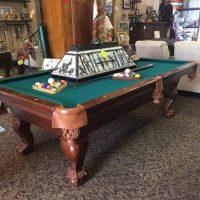 7 foot Pool Table With Rack, Balls, And Hanging Light